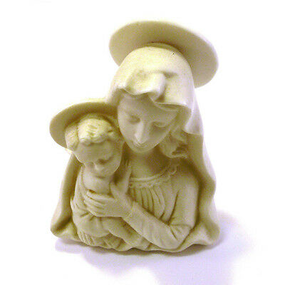 Antique Virgin Mary Madonna with Baby Jesus White Porcelain Candle Holder Japan