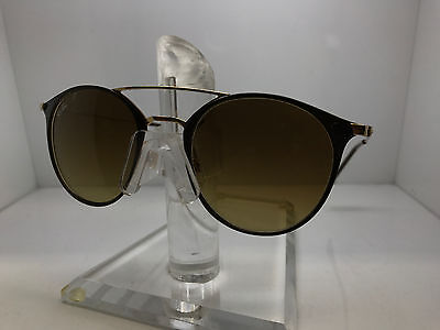 Authentic Ray-Ban Sunglasses Rb 3546 9009/85 49Mm Gold Top Brown/brown Gradient