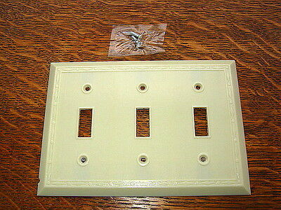Vintage Ivory Bakelite Triple Switchplate Cover