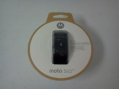 Motorola 89850N Moto 360 (2nd Gen) 22mm Leather Band for Men's 46mm - Black  NEW