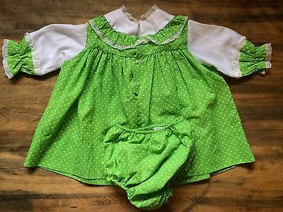 Vintage Baby Girl 2pc Lime Green Polkadot Crib Dress And Bloomers Sz 18m