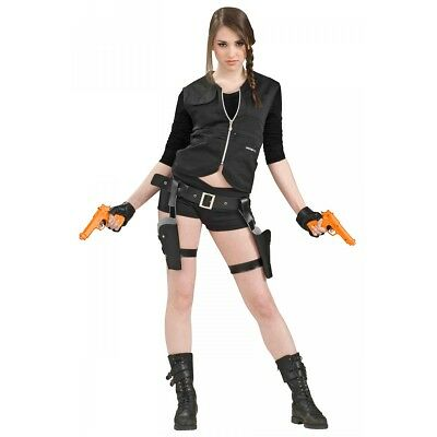 Lara Croft Costume Guns, Holsters & Belt Adult Tomb Raider Halloween Fancy Dress