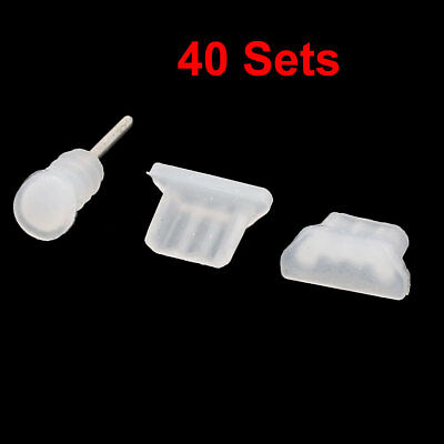 Anti Dust Charger Earphone Cap 3.5mm Jack Fitting Clear 40 Sets