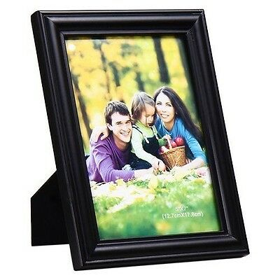 "Adeco 5x7"" Black Wood Wall Hanging or Table Desk Top Picture Photo Frame"