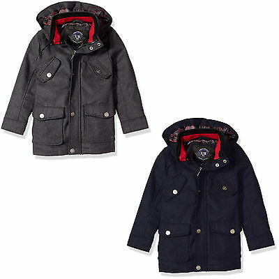 Urban Republic Military Coat for Boys - Wool Blend Jacket - Removable Hood