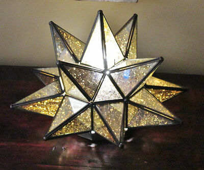 Mexican Glass Star Table Lamp, Antiqued Glass Star Lantern, Mexican Folk Art