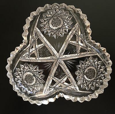 Antique Cut Glass Dish Star and Thistle Pattern