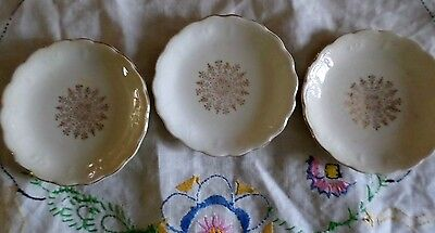 VINTAGE Set of Three Butter Pats White w/ Gold Trim 3 Inches