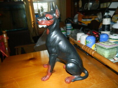 hand painted ceramic sitting doberman dog figurine statue