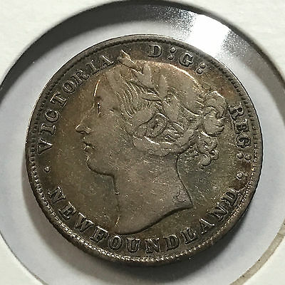 1894 Newfoundland Canada Sterling Silver 20 Cents Higher Grade