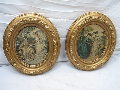 Pair Antique Ornate Oval Deep Well Gesso Picture Frames Victorian Gold Finish