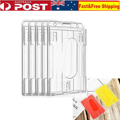 5Pcs Vertical Hard Plastic Badge Holder Double Side Card ID Multi Transparent