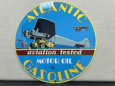 Atlantic gasoline Oil RARE aviation vintage round metal  sign reproduction
