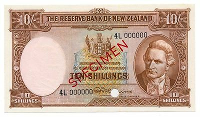 1958 NEW ZEALAND banknote 10 SHILLINGS SPECIMEN -  UNC