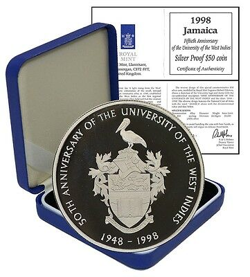 Jamaica $50,22.28g Silver Proof Coin1998,KM#179,Mint,W.Indies University Anniv