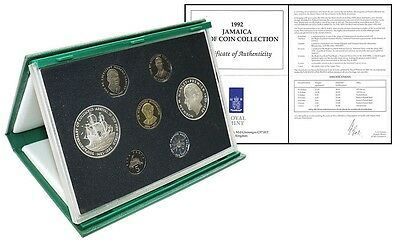 Jamaica 1 Cent $10,Brass & Nickel Plated Steel Proof Coin Set,1992,Mint,Columbus
