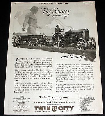 1920 Old Magazine Print Ad, Twin City 12-20 Kerosene Tractor, Sower Of Today!