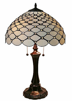 Stained Glass Tiffany Style Chandelle Table Reading Lamp by Amora