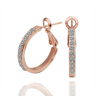 New 18K Rose Gold Filled Classic Hoop Earrings Made With Swarovski Crystal