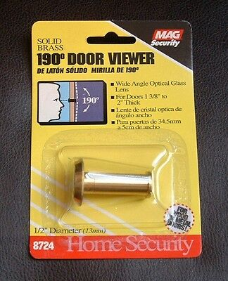 (2) MAG Security 190 Degree Extra Wide Angle Door Viewers - Peephole Solid Brass
