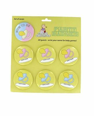 New 7 Baby Shower Badges Set Keepsake Gift Ideal for Games Mum Baby Party
