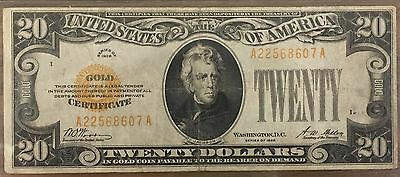 1928 $20 Gold Certificate Note Bill Circulated KL#2261 FR#2402