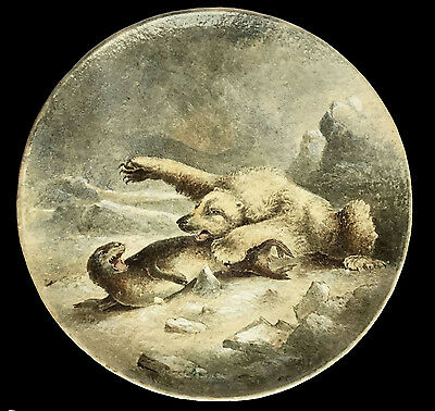 Dramatic & Large Copeland Plaque Polar Bear Attacking A Seal C.1870 W.yale 16.5""
