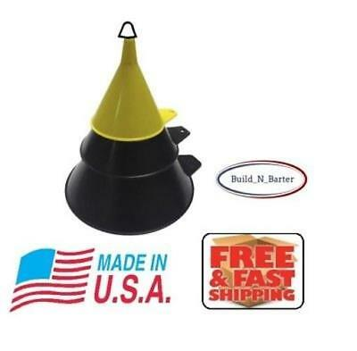 NEW 3 Piece Funnel Set  Large 2 Quart, Medium Pint, Small 1/2 Pint - Made in USA