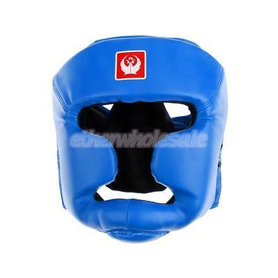 Adjusting Headgear Face Guard Helmet Boxing MMA Martial Arts Protect Blue
