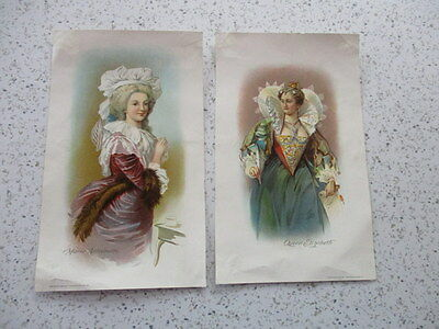 "2 Antique Trade Cards ""queen Quality Shoes"", Queen Elizabeth & Marie Antoinette"