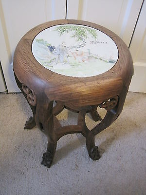 Chinese Carved Wood Drum Chair Stool Table Stand With Signed Porcelain Top