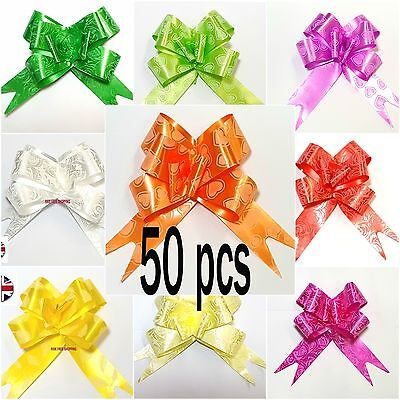 50 Pull Bow Decorations Large Wedding Car Xmas Gift Wrap Floristry 10 Colours pa