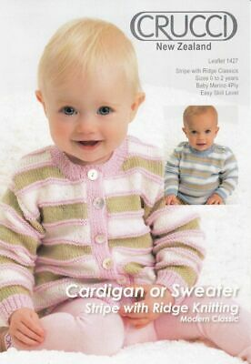 Crucci Knitting Pattern 1427, Baby Cardigan or Sweater, Modern Classic, 4 Ply Wo
