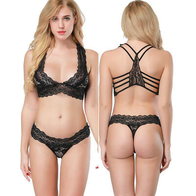 Womens Lingerie Lace Bra Sets Wireless Bra and Panty Set Underwear Bralettes