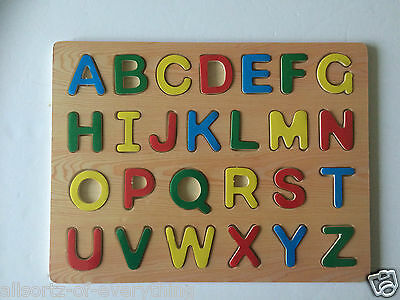 Large Alphabet Wooden Puzzle Board Kids Learning Fun Educational