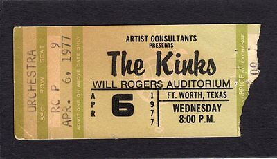 1977 The Kinks concert ticket stub Fort Worth Texas You Really Got Me Lola