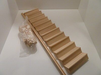 Dolls House Miniature 1:12th Scale Building Bare Wood Stair Kit & Spindles Rail
