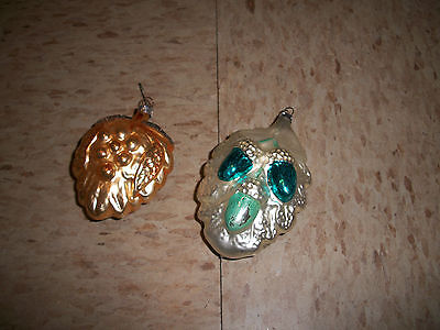 Lot of 2 Vintage Glass Christmas Tree Ornaments Leaf leaves Hand painted Germany