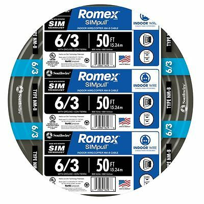 Romex 6-3 AWG NM-B Cable Copper Wire -  50 ft  (By-the-Roll)