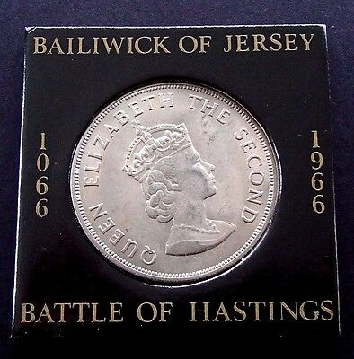 1966 Bailiwick of Jersey Crown - 5 Shillings - Battle of Hastings - 946