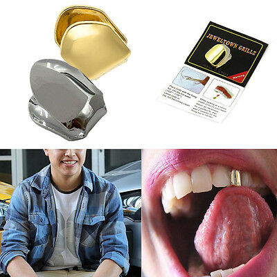 1PC Gold/Silver Plated Single Tooth Fang Grill Cap Teeth Hip Hop