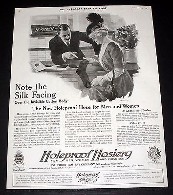 1914 Old Magazine Print Ad, Holeproof Hosiery, Silk Over Invisible Cotton Body!