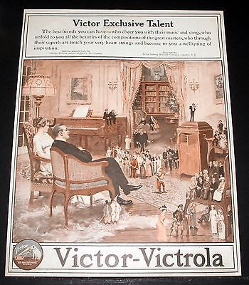1914 Old Magazine Print Ad, Victor Victrola, Exclusive Talent, Music And Song!