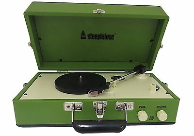 Steepletone Portable Vinyl Turntable Record Player With Speaker Green