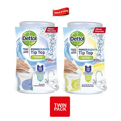 2 x DETTOL POWER AND PURE TIP TOP TOUCH UP – SPARKLING LEMON & OCEAN FRESH 415ml