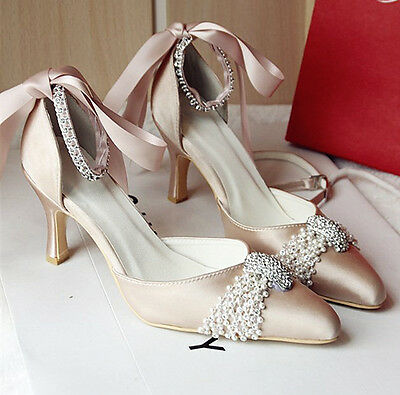 Real Silk Satin Crystal Lace Wedding Shoes Low Heel Pumps Bridal Shoes US5-10.5
