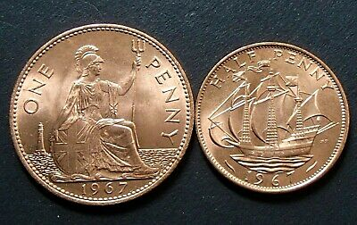1967 UK English One Penny & 1967 Half Penny 1/2d Coins - Uncirculated - Mint Red