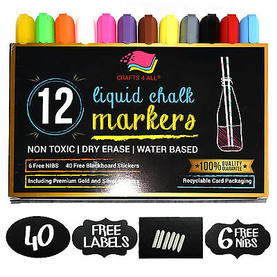 CRAFTS4ALL Liquid Chalk Markers 12pk Assorted