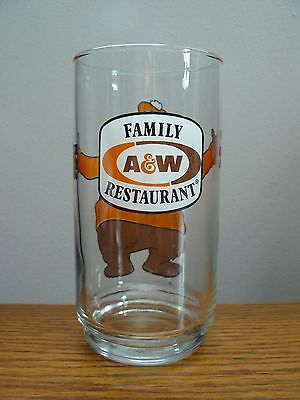 Vintage A & W Root Beer Drinking Glass, Features Root Beer Bear