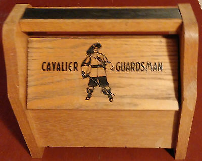 Vintage Cavalier Wooden Shoe Shine Box With 4 Brushes